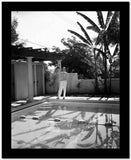 Fred Astaire standing by the Poolside in Black and White High Quality Photo