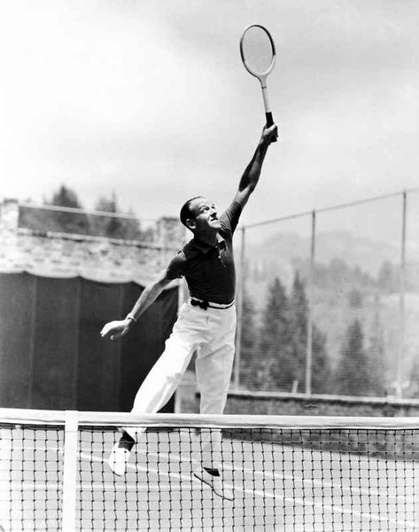 Fred Astaire Playing Tennis in White Pants Premium Art Print