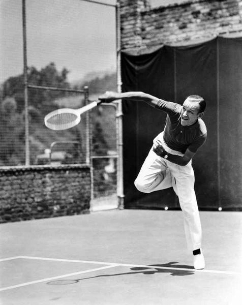 Fred Astaire Serving Ball in Tennis Premium Art Print