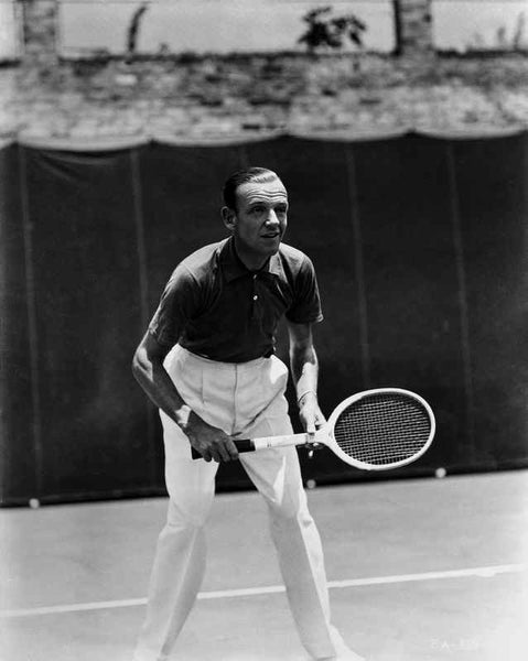 Fred Astaire Playing Tennis in Ready Position Premium Art Print