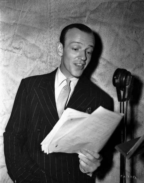 Fred Astaire Reading in Black and White Premium Art Print