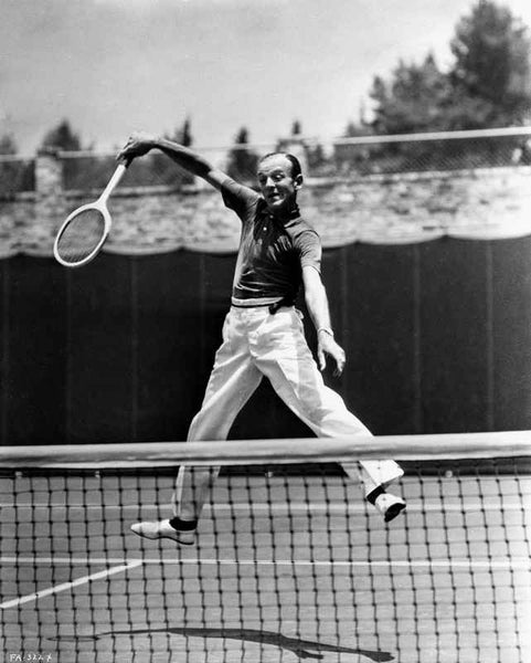 Fred Astaire Playing Tennis in Polo Shirt and White Slacks Premium Art Print