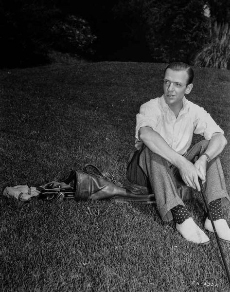 Fred Astaire Seated on Golf Bag in Black and White Premium Art Print