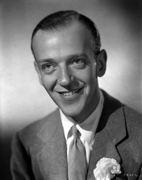 Fred Astaire smiling in Suit with Flower Brooch Premium Art Print