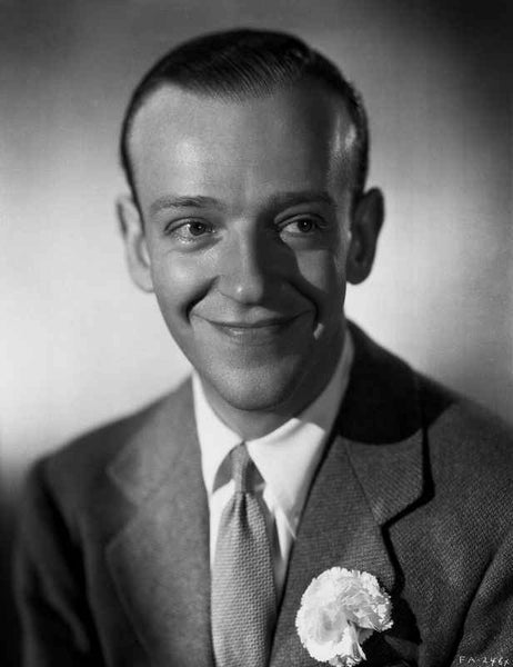 Fred Astaire smiling in Suit with Gray Background Premium Art Print