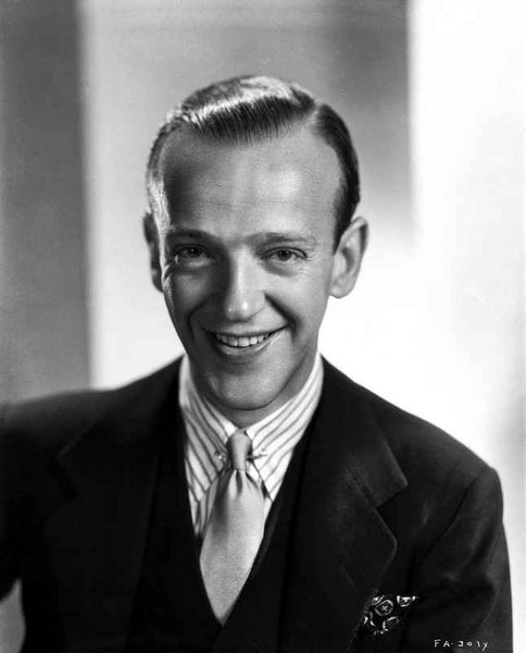 Fred Astaire smiling in Formal Attire with Gray Background Premium Art Print
