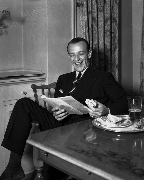 Fred Astaire laughing in Suit Premium Art Print