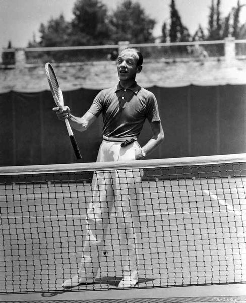 Fred Astaire Holding Tennis Racket Premium Art Print
