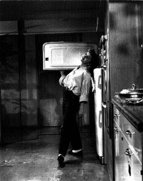 Susan Slept Here Leaning on Refrigerator in Long Sleeve Blouse Premium Art Print