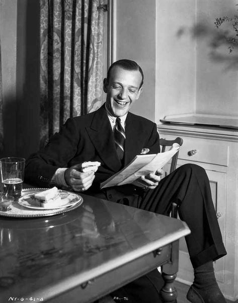 Fred Astaire laughing in Portrait Premium Art Print