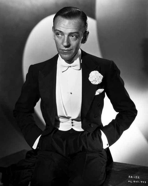 Fred Astaire in Tuxedo with Hands on Pocket Black and White Premium Art Print