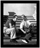 Fred Astaire Seated on Stairs in White Shirt Black and White High Quality Photo