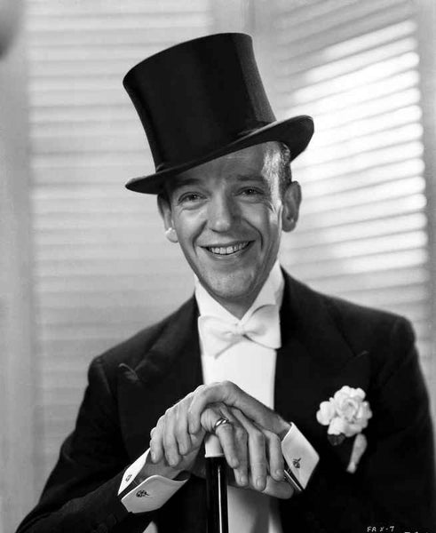 Fred Astaire Posed in Formal Suit and Top Hat Black and White Premium Art Print