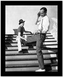 Fred Astaire Stretching Legs on Stairs Black and White High Quality Photo
