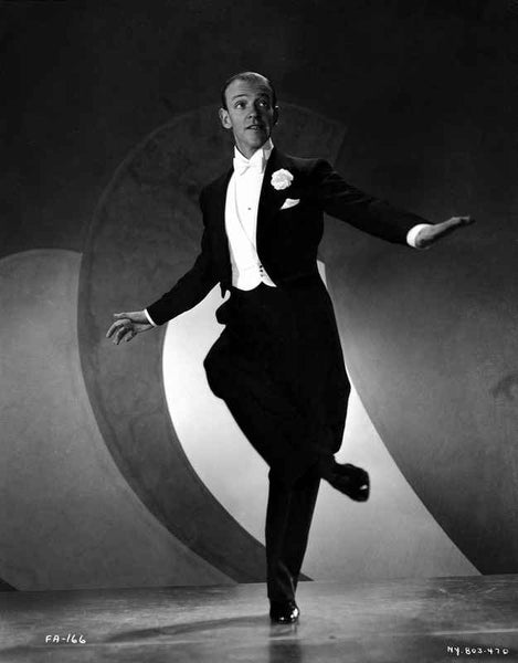Fred Astaire Dancing in Black Suit Premium Art Print