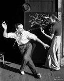 Fred Astaire Dancing in White Shirt Black and White Portrait Premium Art Print