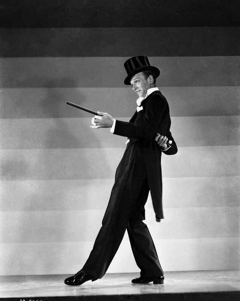 Fred Astaire Dancing in Top Hat Black and White Premium Art Print