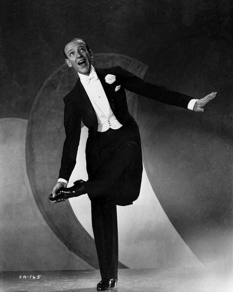 Fred Astaire standing on One Foot in Black and White Premium Art Print