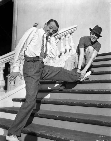 Fred Astaire Stretching in Black and White Premium Art Print