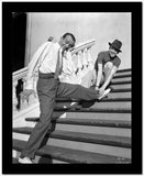 Fred Astaire Stretching in Black and White High Quality Photo