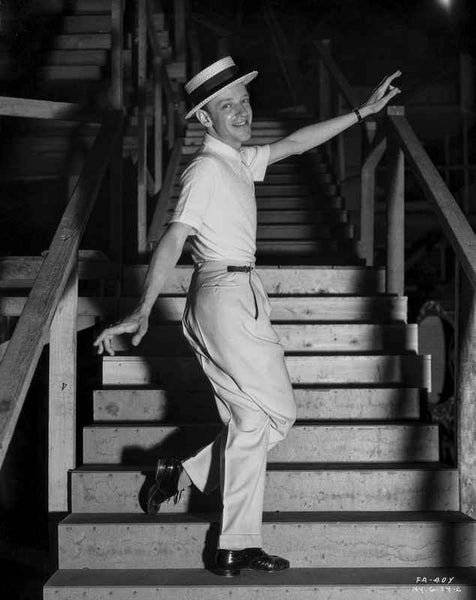 Fred Astaire standing on Dining Table Premium Art Print