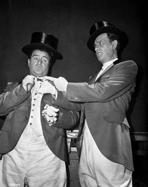 Abbott & Costello in Top Hats Removing their Gloves Premium Art Print