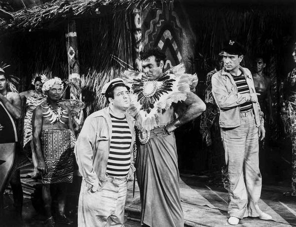 Abbott & Costello Talking to Village Chief Premium Art Print