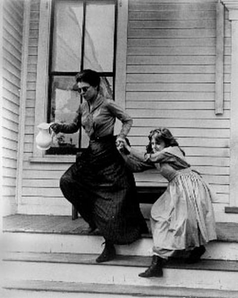 Miracle Worker Classic Movie Scene with a Woman Dragging a Child Premium Art Print