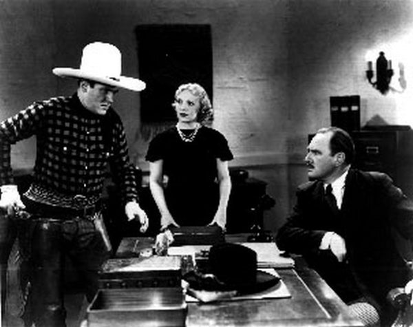 Boots Of Destiny Cowboy Along with Man and Woman Discussing in Office Scene Excerpt from Film Premium Art Print