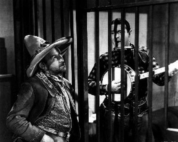 Boots Of Destiny Man singing with Guitar in Jail Scene Excerpt from Film Premium Art Print
