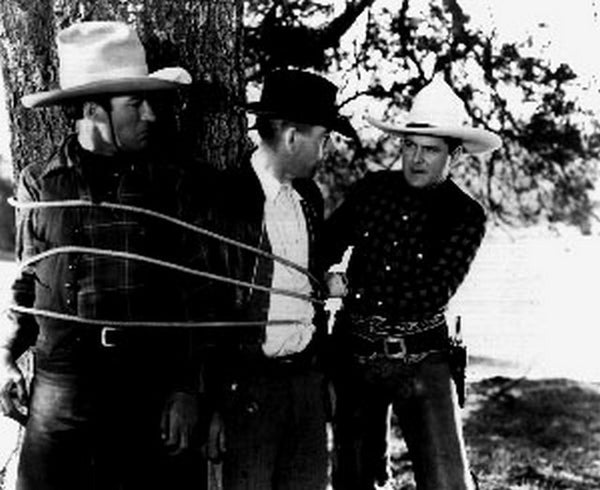 Boots Of Destiny Two Cowboys Tied Up on Tree Scene Excerpt from Film Premium Art Print