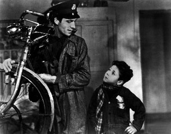 Bicycle Thief with Man Repairing Bicycle Portrait Excerpt from Film Premium Art Print