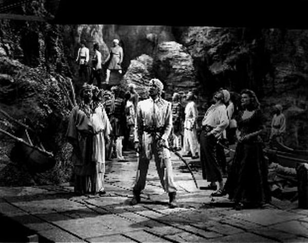 Sinbad The Sailor Group of People Inside a Cave in a Classic Movie Scene Premium Art Print