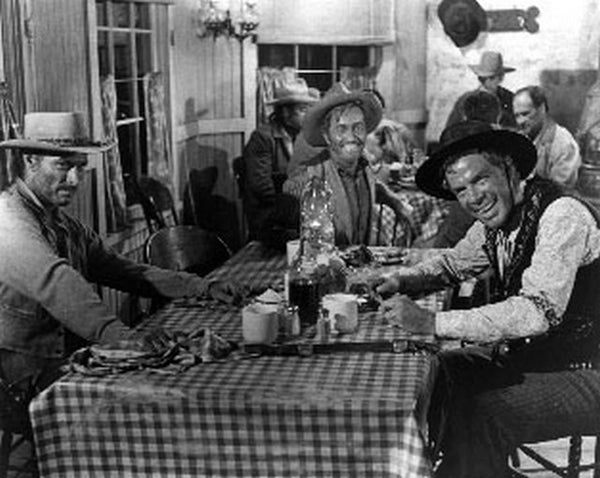 Man Who Shot Liberty Valance Cast smiling at Dining Table, wearing Cowboy Outfit Premium Art Print