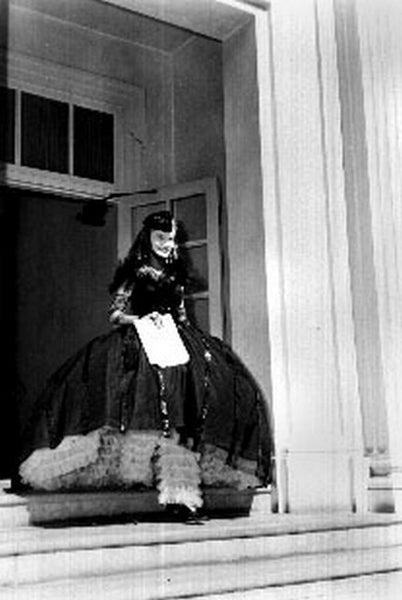 Sullivan's Travels Cast Member wearing Gothic Gown Excerpt from Film in Black and White Premium Art Print