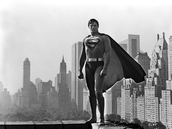 Superman standing over Metropolis Vintage High Quality Photo