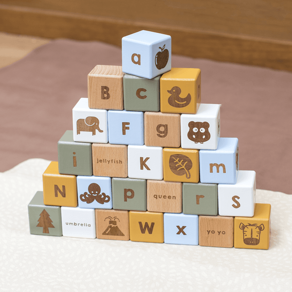 Coloured Wooden Alphabet Block Set