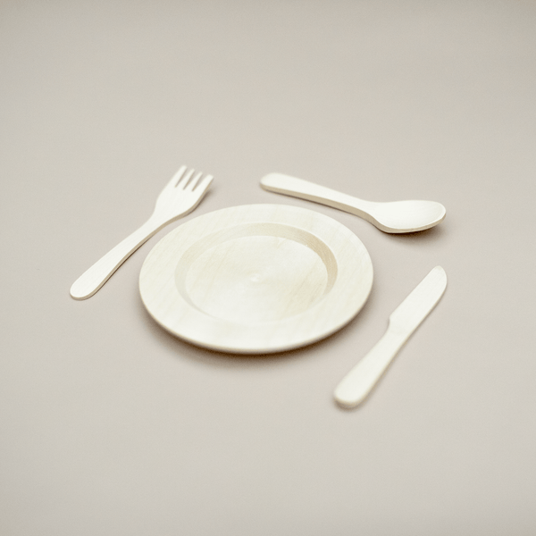 Wooden Plate & Cutlery