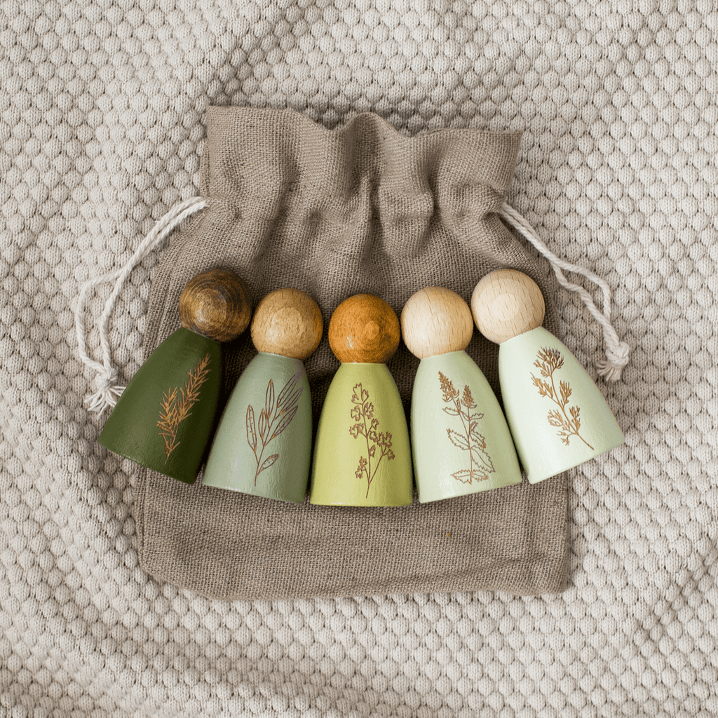Garden Herb Peg Dolls Set