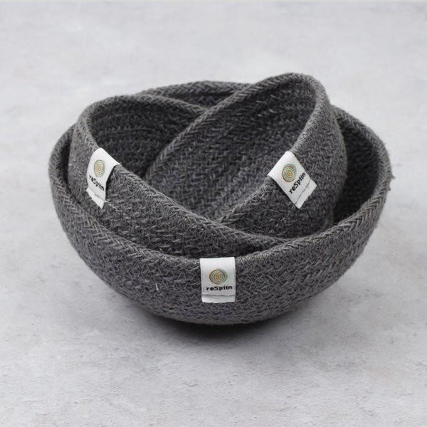 Jute Bowl Set (Steel Blue)