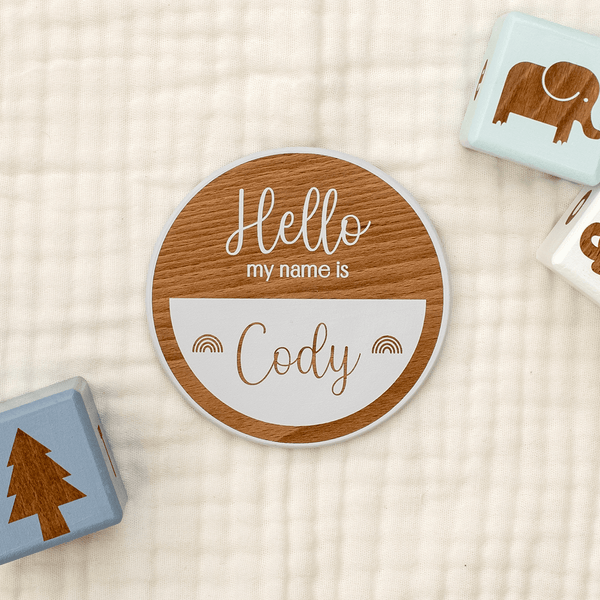 'Hello my name is' Wooden Name Plaque