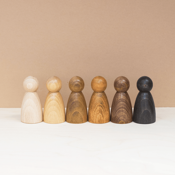 Natural Wooden Peg Doll Set