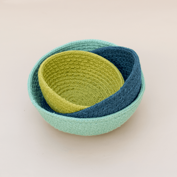 Rainbow Jute Bowl Set (Ocean)