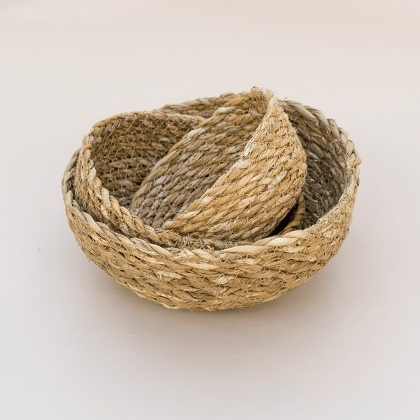 Natural Seagrass Bowl Set