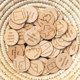 Wooden USA State Coins