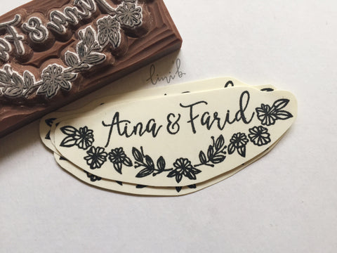Couple Name Stamp with Floral design