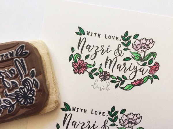 """With Love,"" Stamp (Floral Design)"