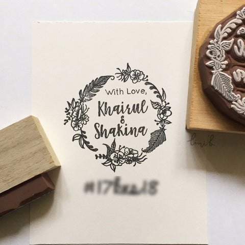 Wedding Stamp (Feathers and florals)