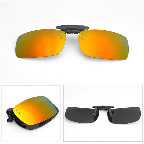 66b2db00d4e ... Fold Polarized Clip on Sunglasses clip on glasses square Polaroid Lens  Men Women mirror clip Sun ...