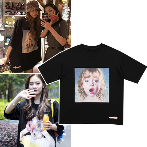 BLACKPINK LISA NINE PERCENT YANJUN LITTLE GIRL DONUT SHIRT